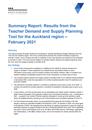 Teacher Demand and Supply Planning Tool 2021